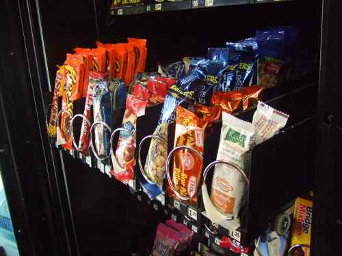 vending snacks in a row